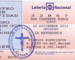 ElCristo – Loteria – Navidad 2015 – Papeleta