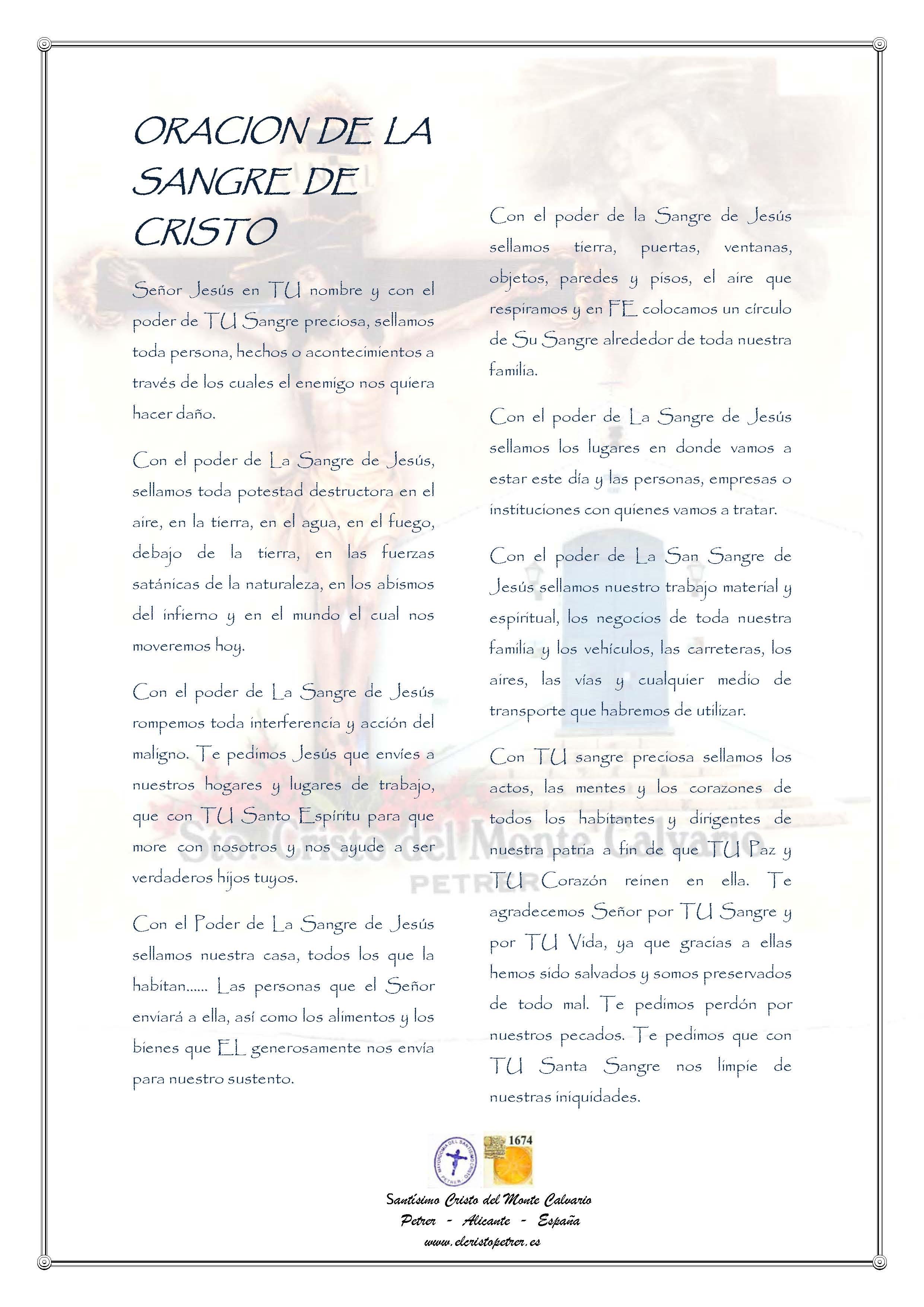 ElCristo - Oraciones - Anonimo - Revista xxxx - La Sangre de Cristo