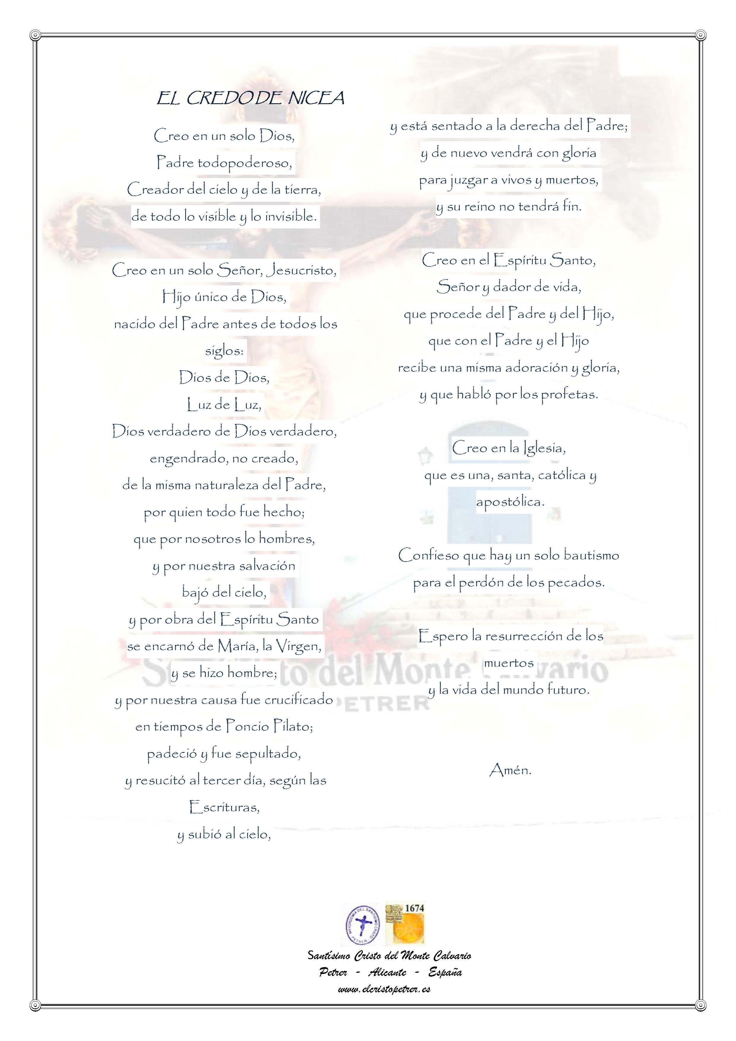 ElCristo - Oraciones - Iglesia - Concilio de Nicea - El Credo de NICEA-CONSTANTINOPLA