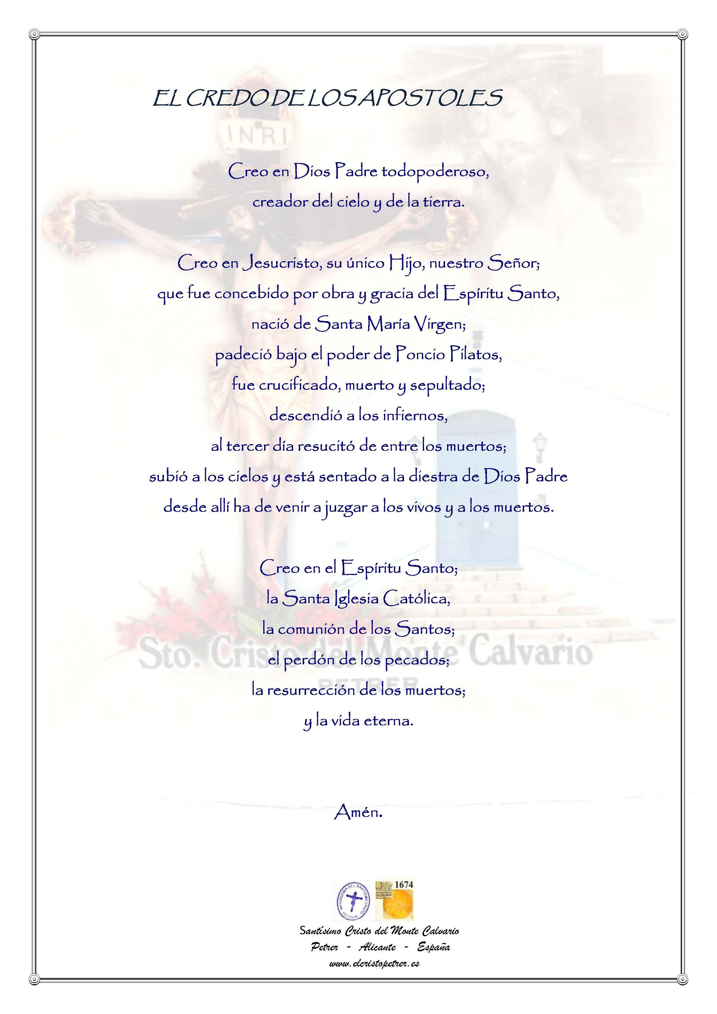ElCristo - Oraciones - Iglesia - Concilio de Nicea - El Credo de los Apostoles