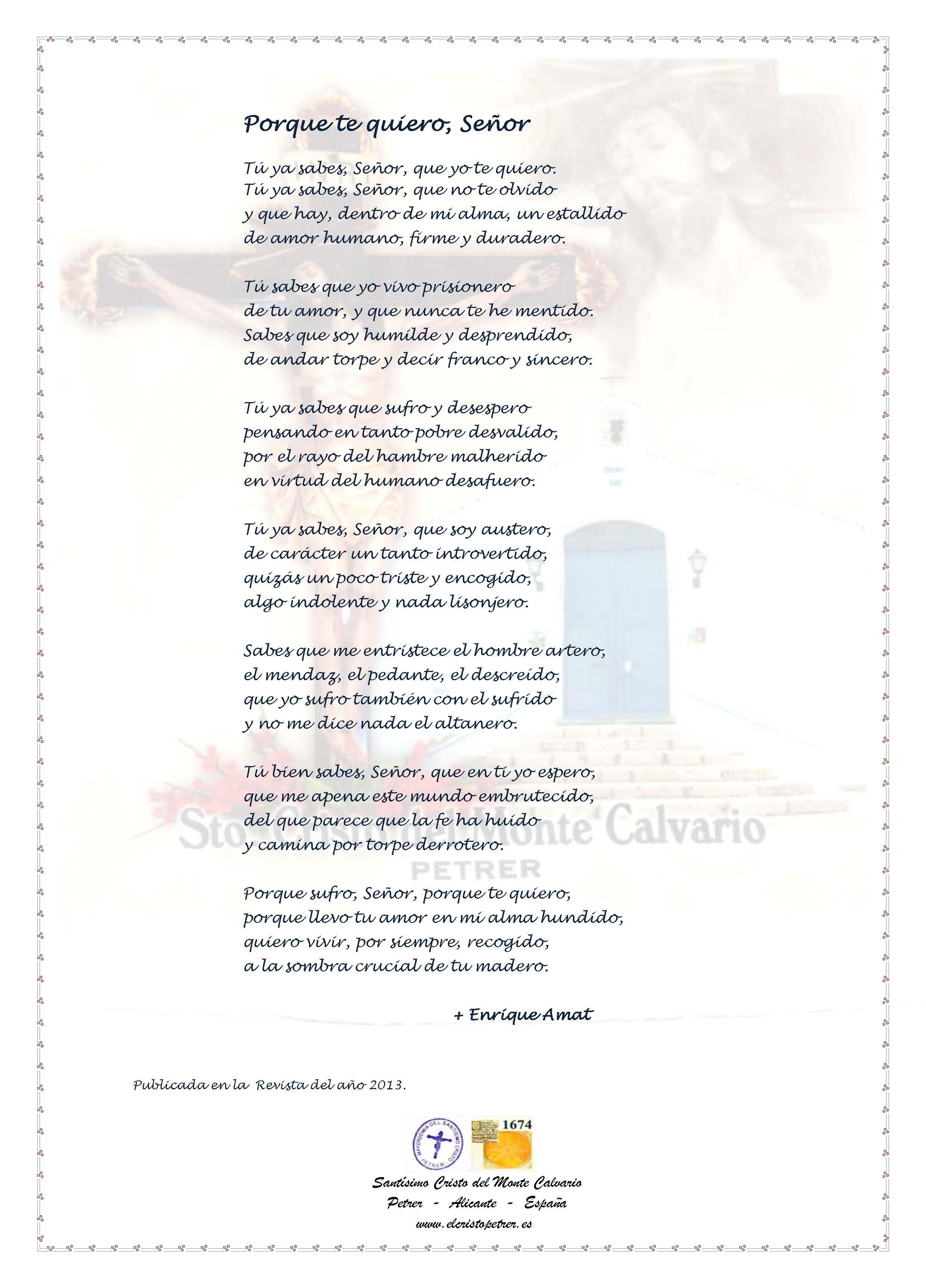 ElCristo - Poesias - Amat, Enrique - Revista 2013 - Porque te Quiero Señor