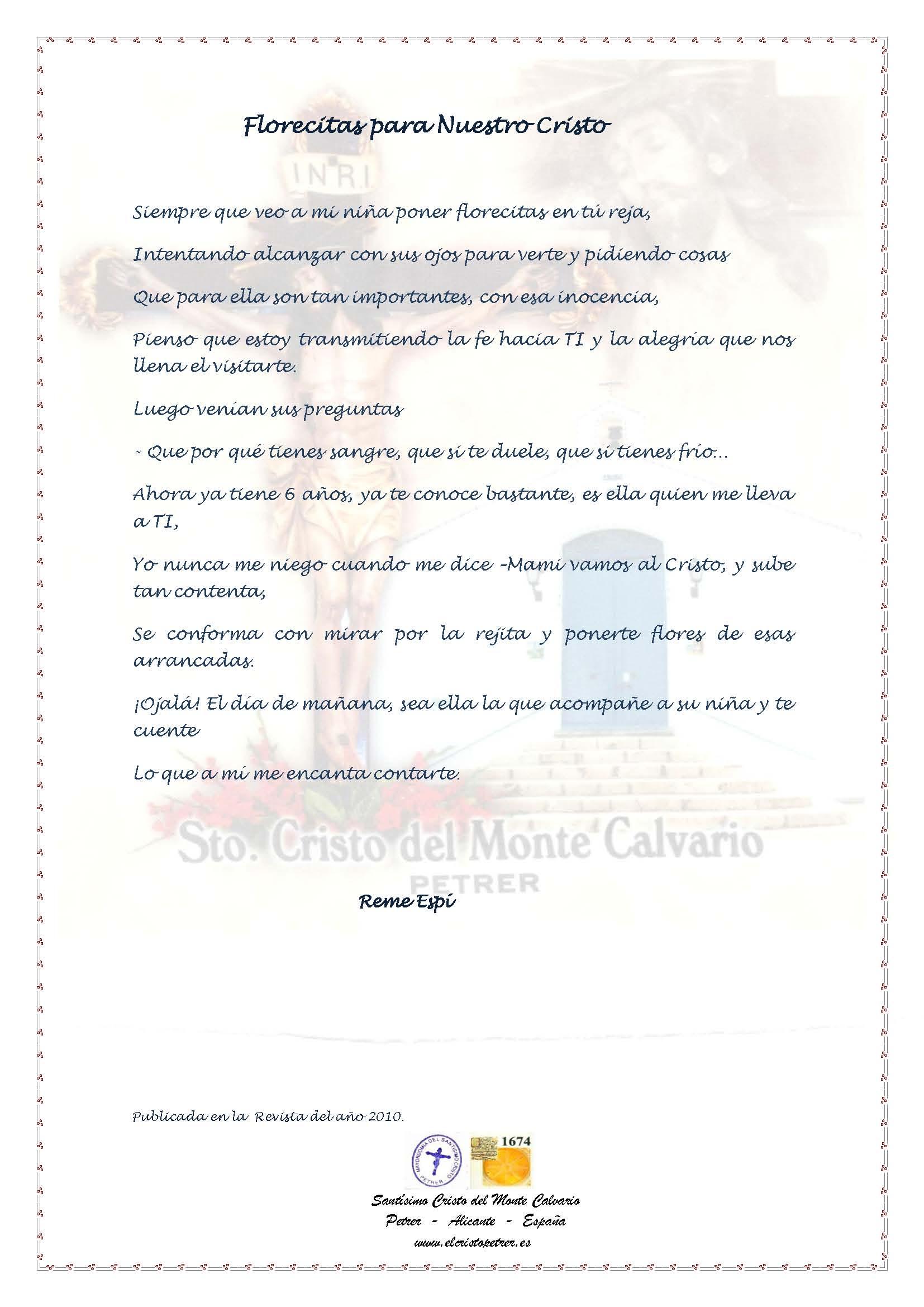 ElCristo - Poesias - Espi, Reme - Revista 2010 - Florecitas para nuestro Cristo