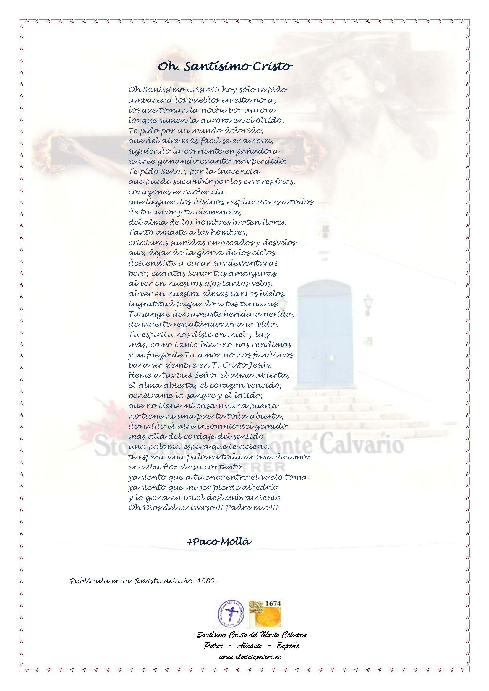 ElCristo - Poesias - Molla, Paco - Revista 1980 - Oh Santísimo Cristo