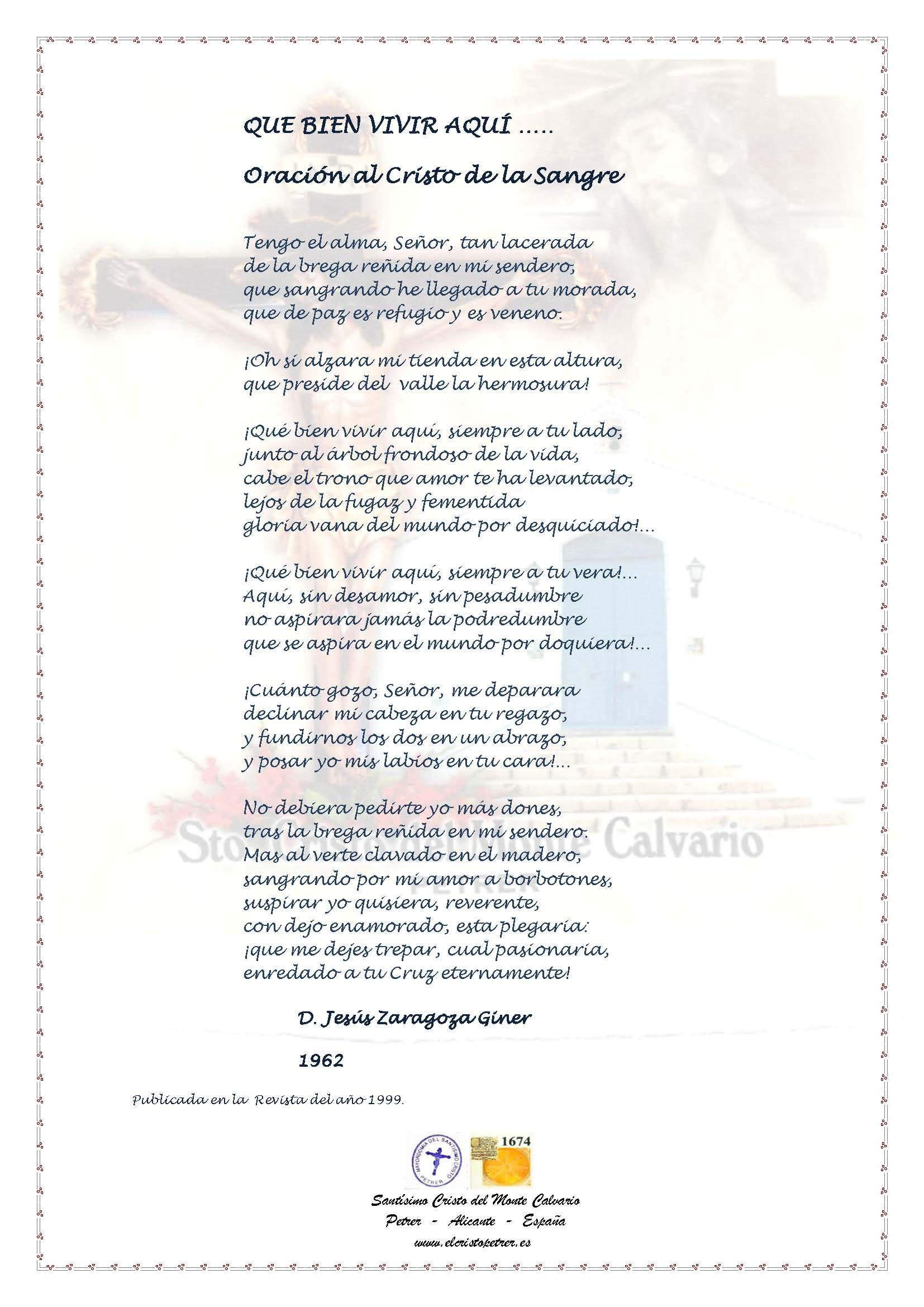 ElCristo - Poesias - Zaragoza Giner, Jesús - Revista 1999 - Que bien vivir aquí