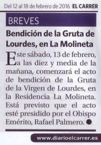ElCristo - Actos - La Molineta - Inauguración VIRGEN DE LOURDES - (2016-02-12) - El Carrer