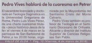 ElCristo - Actos - Charla Jesús Histórico - (2016-03-04) - Valle de Elda